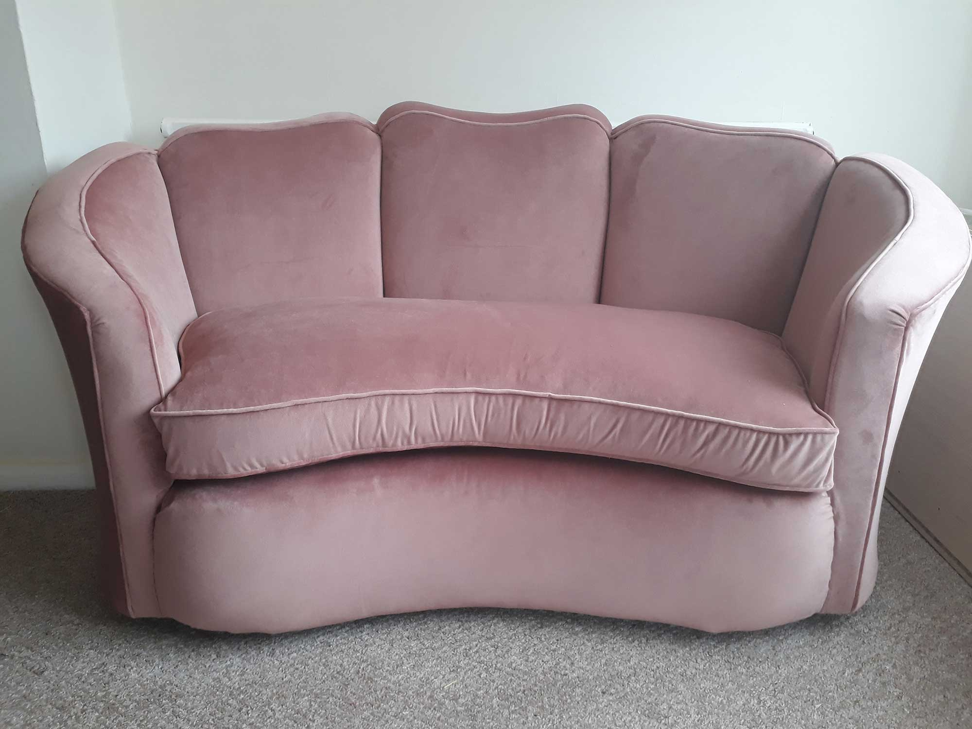 Re-Covered Kidney Sofa