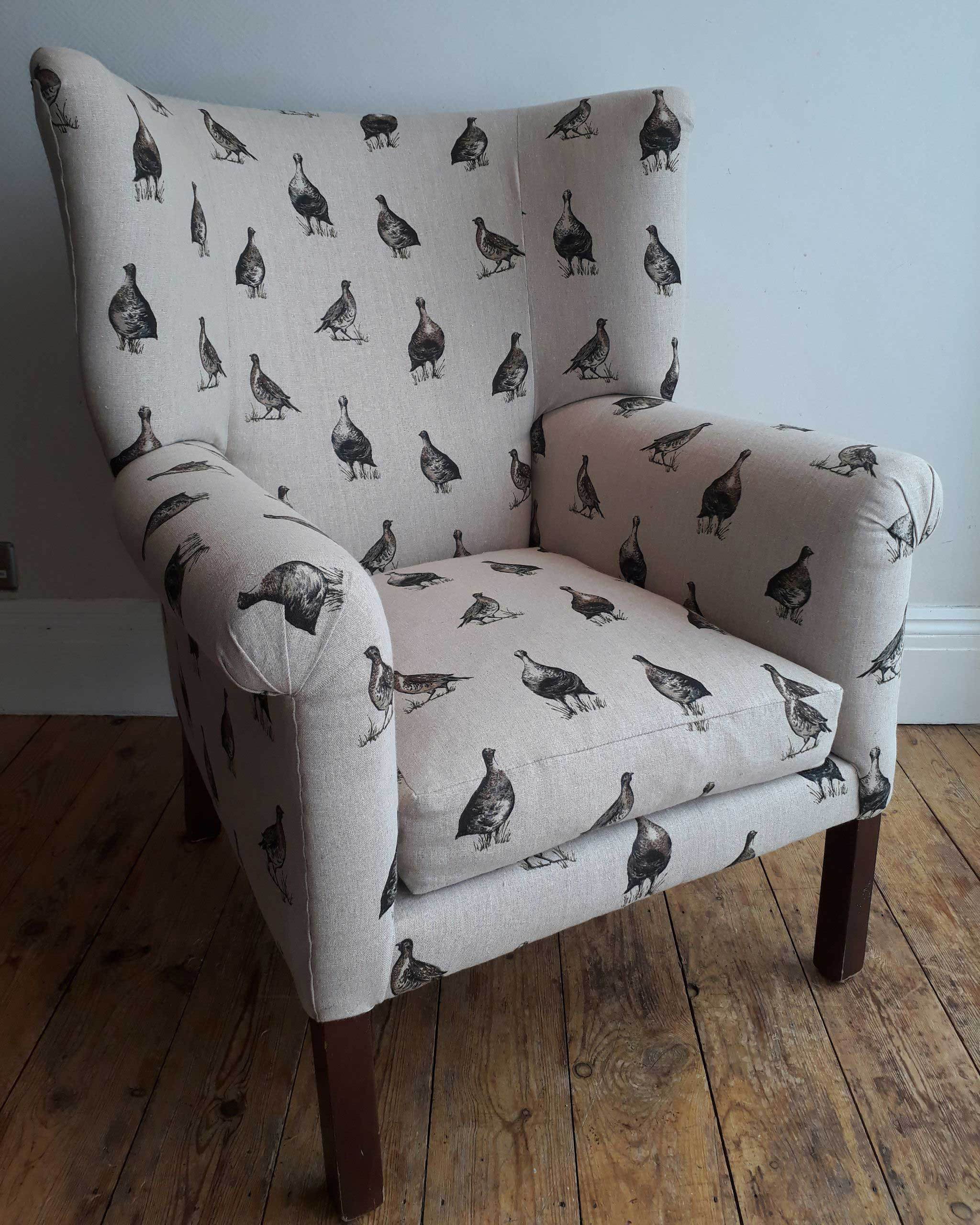 Re-Covered Winged Armchair