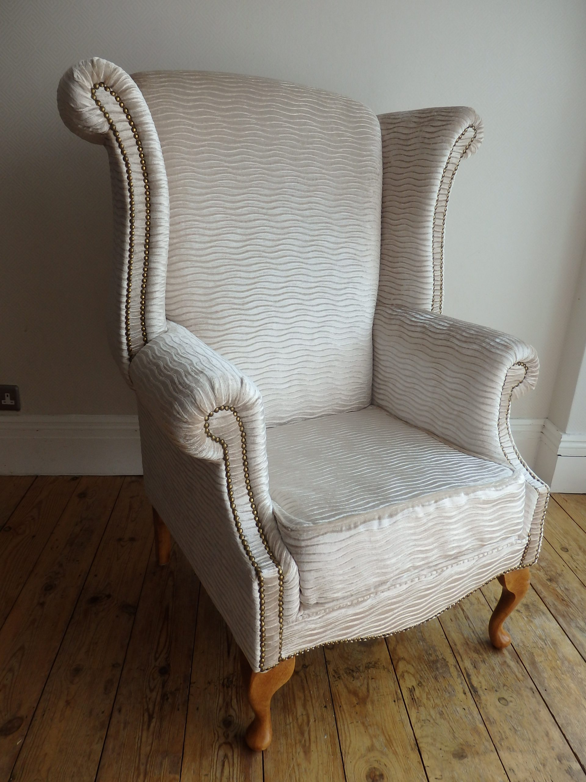 Repaired & Rebuilt Queen Anne Wing Back Armchair