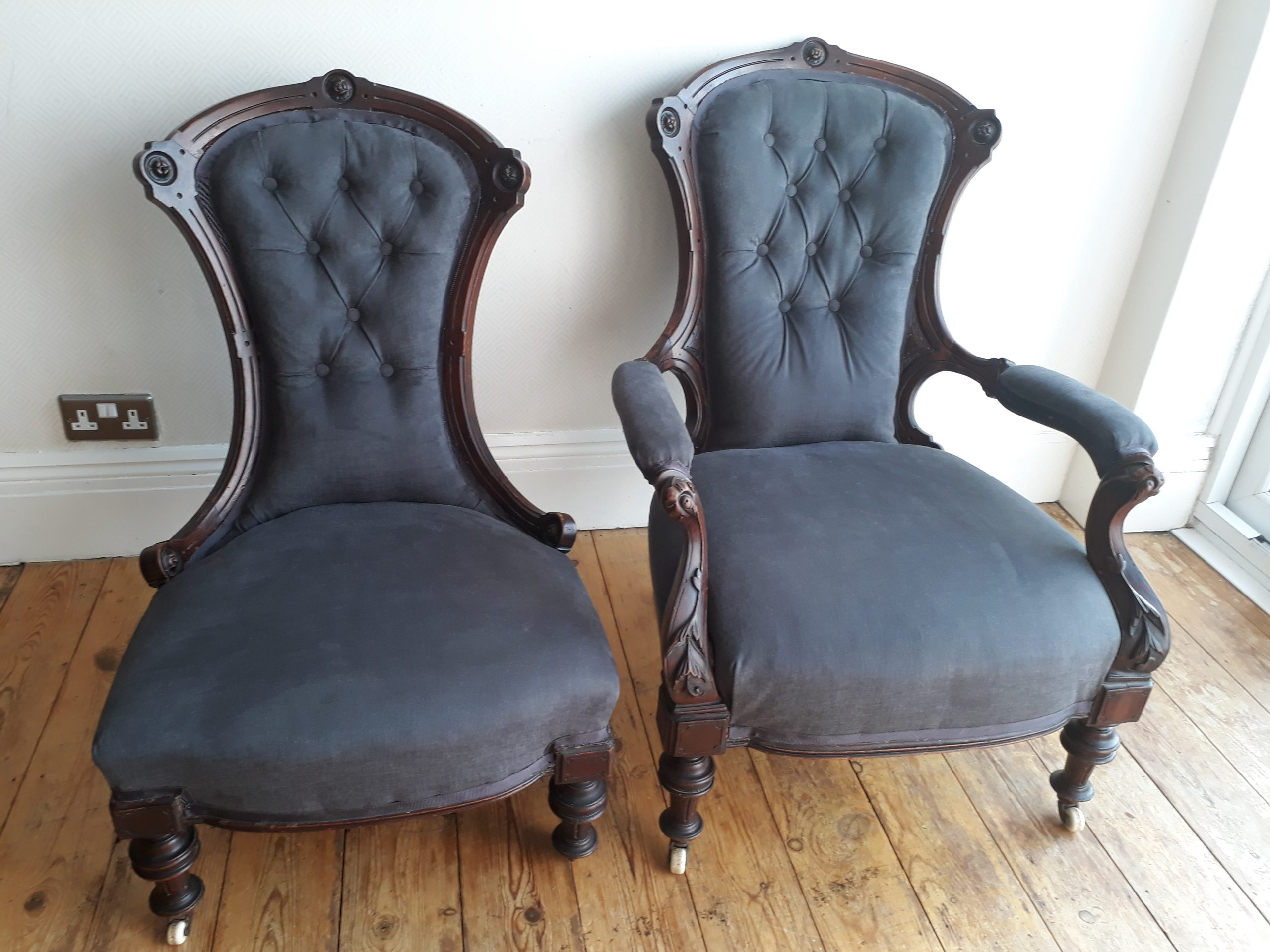 Re-Covered Victorian Armchairs