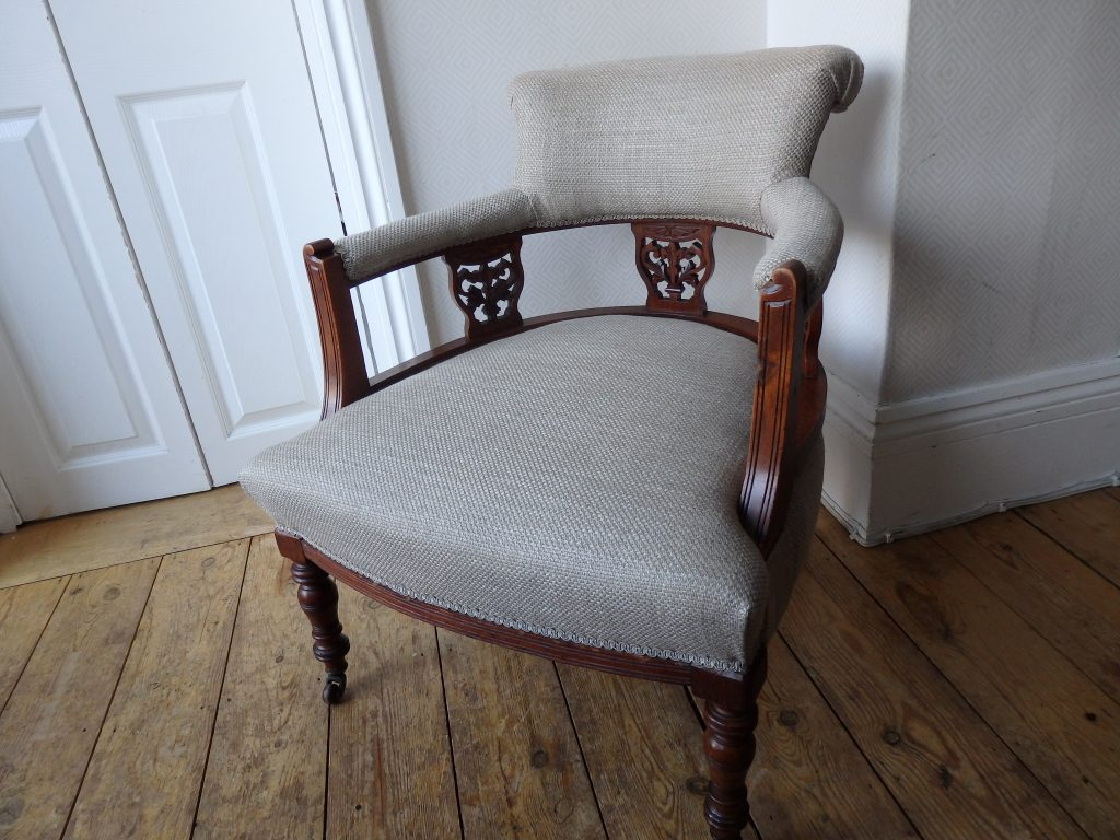 Re-covered Victorian Mahogany Chair